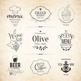 Label, logo set for restaurant menu design Royalty Free Stock Photos