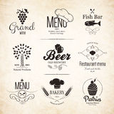 Label, logo set for restaurant menu design Royalty Free Stock Image