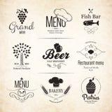 Label, logo set for restaurant menu design Royalty Free Stock Image