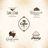 Label, logo set for restaurant menu design Stock Photos