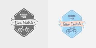 Label, logo or symbol of bike rent company. Vector label, logo or symbol of bike rent company Royalty Free Stock Photo