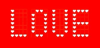 Label of love background with red hearts Stock Photography
