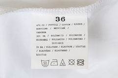 Label washing instructions Royalty Free Stock Photo