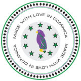 Label Made with love in Dominica Stock Photography