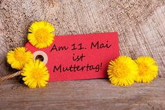 Label with Am 11 Mai ist Muttertag Royalty Free Stock Images