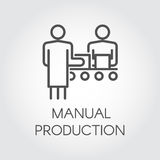 Label of manual production. Simple black icon of people working on conveyor at factory concept. Linear pictograph Stock Image
