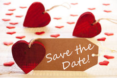 Label With Many Red Heart, Text Save The Date Royalty Free Stock Photos