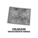 Label with map of colorado. Royalty Free Stock Photo