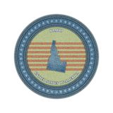 Label with map of idaho. Denim style. Vector eps10 Royalty Free Stock Photo