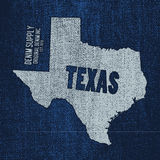 Label with map of texas. Vector illustration Stock Photography