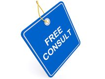 Label marked free consult. Blue label with text ' free consult ' in white uppercase letters isolated on white background vector illustration
