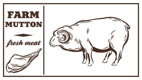 Label of meat products. Mutton Stock Images