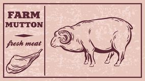 Label of meat products. Mutton Royalty Free Stock Photo