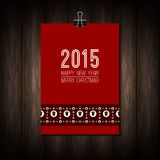2015 label with Merry Christmas and Happy New Year. Typing on red background with pattern from sheeps, christmas tree and snowflakes. Xmas poster, banner Royalty Free Stock Photo