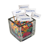 Label of message with the glass box Royalty Free Stock Image