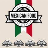 Label mexicain de nourriture - tortillas, Burrito, Quesadillas, Tex-Mex illustration libre de droits