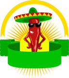 Label with mexican chili stock illustration