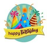 Label mignon de joyeux anniversaire avec le label de chapeau de partie illustration stock