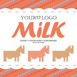 Label milk with the concept of cross-stitch Royalty Free Stock Photo