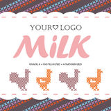 Label milk with the concept of cross-stitch Stock Photos