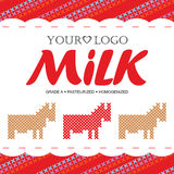 Label milk with the concept of cross-stitch Stock Images