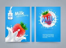Label milk strawberry cover, banner splashing banner, A4 size Stock Photo