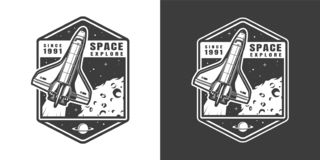 Label monochrome d'exploration d'espace de cru illustration libre de droits