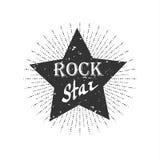 Label monochrome de vintage de hippie, vedette du rock illustration libre de droits