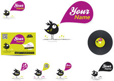 Label music logo. Music logo label with bird, card and vynil, vector illustration Royalty Free Stock Image