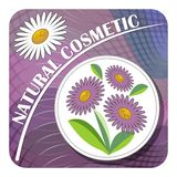 Label for natural cosmetic product with purple and white flower on purple abstract background. Royalty Free Stock Photography
