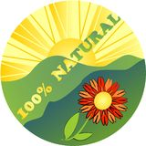 Label 100 % natural with flower Stock Photography