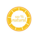 Label for natural juice. Fresh Juice, Bio , Sticker, Orange, Organic,Natural Product 100 Stock Illustration