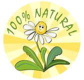 Label for 100 % natural product from ecological environment. With funny flower with face royalty free illustration
