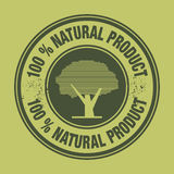Label 100% Natural Product. Label with the words 100% Natural Product, color illustration Stock Photos