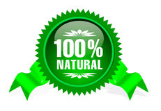 Label for natural products. Label with ribbon for natural products Stock Photo