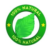 Label naturel d'insigne de 100% d'isolement Photographie stock