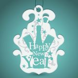 Label for New Year greetings. Graphic composition label from New Year greetings Royalty Free Stock Photo