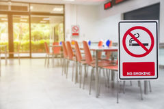 Label no smoke stick on glass entrance canteen room,caution safe. Ty awareness Royalty Free Stock Image