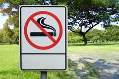 Label No Smoking Metal Sign In The Park Stock Photo