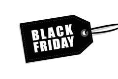 Label noir de vendredi d'isolement sur le fond blanc pour la promotion illustration stock