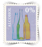 Label for non-alcoholic drinks advertisements stylized as post stamp Royalty Free Stock Image