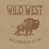 Label occidental de vintage avec le bison illustration stock