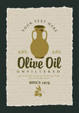 Label for olive oil with a clay jug. Vector label for olive oil with a clay jug Stock Image