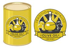 Illustration of a tin can with label for olive oil. Label for olive oil decorated by decanter with oil and olive twigs with green and black olives in retro style vector illustration