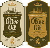 Label for olive oil. Vector set label for olive oil and Italian countryside landscape vector illustration