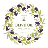 Label for olive oil wreath of black and green olives Stock Photos