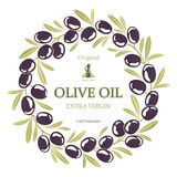Label for olive oil wreath of black olives Stock Photo