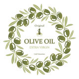 Label for olive oil wreath of green olives Royalty Free Stock Image
