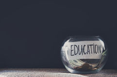 Label On A Glass Jar With The Inscription - Education Royalty Free Stock Image