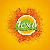 Label of orange juice. With textures and orange background Royalty Free Stock Image